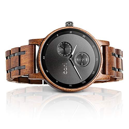 Cari Herren Männer Holzuhr 43mm mit Schweizer Uhrwerk - Holz-Armbanduhr Mailand-051 (Ahorn Holz)