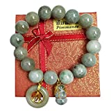 Natural Green Jade Real Bracelets with Green Lucky Coin Jade and Gourd To Prosperity for Women Charms Luck Success Promote Love Wealth in Life Prosperity Bringing Beauty for chubby people 6.75 inch