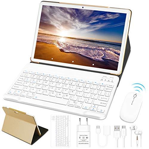 Tablet 10 Pollici 4GB RAM 64GB ROM WiFi + Doppia SIM Lte Android 10 Pro GOODTEL Tablets Doppia Fotocamera   WiFi   IPS   Bluetooth   MicroSD 4-128 GB   con Tastiera Bluetooth e Mouse - Oro Rosa