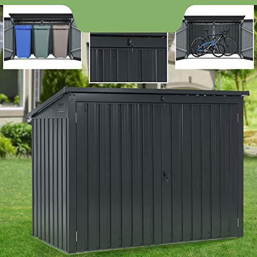 Juskys Mülltonnenbox Namur   Aufbewahrungsbox für 3 Tonnen   1,9m²   2 Türen abschließbar   Metall   grau   Mülltonnenverkleidung Müllbox Müllhaus