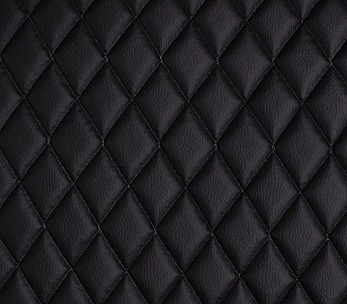 Vinyl Grain Texture Quilted Foam Fabric 2' x 3' Diamond with 3/8' Foam Backing Upholstery / 52' Wide/Sold by The Yard/FABRIC EMPIRE (Black)