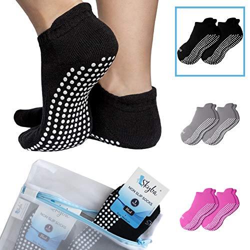 Skyba Non Slip Socks for Women - Barre, Pilates, Yoga, Hospital - Sticky Anti Skid Grip Socks [Three Sizes] (Women's Shoe Size 6.5-8.5/ Men's 5-7, 2 Pairs- Black)