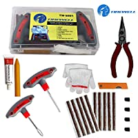 UNIVERSAL TUBELESS TIRE REPAIR KIT - TIREWELL Universal Tubeless Tyre Repair Kit is a compact and convenient set that has everything you need to repair tubeless tires on your own. With T handle Grips and Repair String Plugs, you can easily fix a flat...