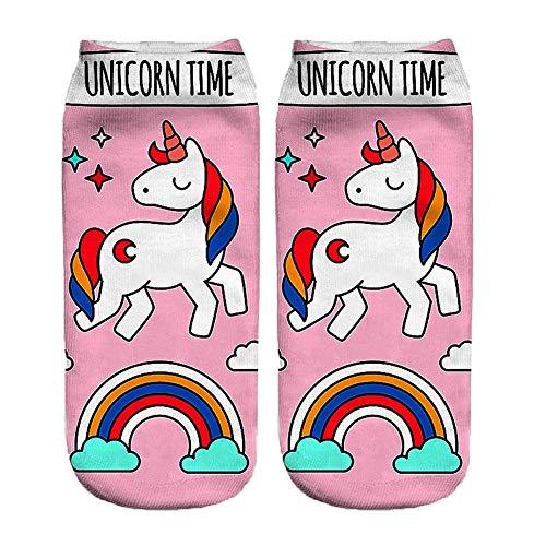 Funky Calcetines Modelo Animal 3d Impresión linda de calcetines cortos ocasionales para mujer Calcetines unicornio niñas (Rosa)