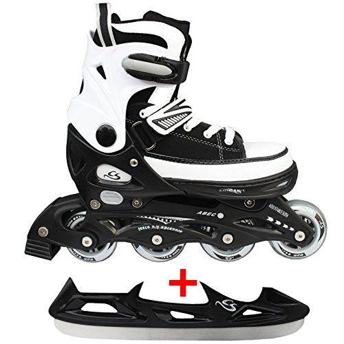 Cox Swain Sneak Kinder Inline Skates & Kinder Schlittschuh 2 in 1 - größenverstellbar ABEC5, schwarz, L (40-43)