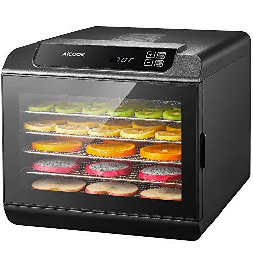 AICOOK Dörrautomat | LED-Anzeige mit Temperaturregler 35-70℃ | Timer 19.5 Stunde | Dörrgerät mit 6 Etagen aus Edelstahl für Lebensmittel, Obst- Fleisch- Früchte-Trockner | BPA-frei, Auto-Off 500W