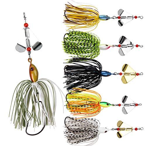 6 pezzi Buzzbait Spinnerbait Jigs Lure per Bass Fishing, Esche da Pesca per spinnerbait con Cucchiaio in Metallo Duro per Pesca al luccio