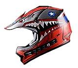 WOW Youth Kids Motocross BMX MX ATV Dirt Bike Helmet Shark Red