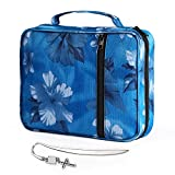 Ruiheshiyi Bible Cover, Canvas Bible Case with Cross Bookmark, Carrying Bag with Zippers and Multiple Pockets, Washable Bible Carrier Perfect Gift for Mother Kids Girls Women (Blue Flower)