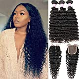 Brazilian Deep Wave 8A Unprocessed Virgin Hair 3 Bundles with Middle Part Lace Closure 4×4 Lace Mixed Length Hair Bundles Natural Color or Black Women (28 28 28+20)