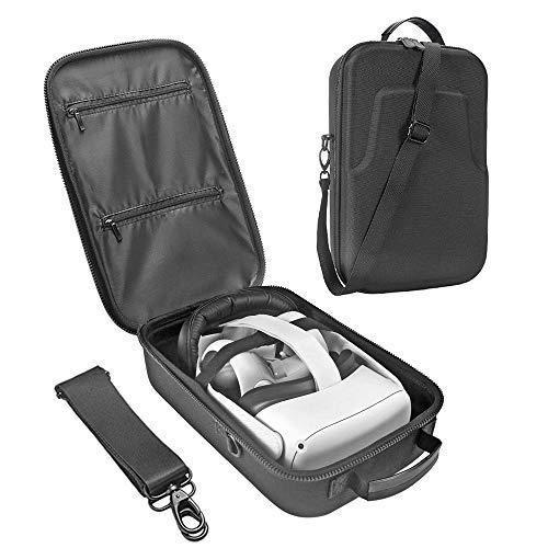 HIJIAO Hartschalenkoffer-Tasche für Oculus Quest VR Gaming-Headset und Controller-Zubehör wasserdichte, stoßfeste Tragetasche(schwarz)