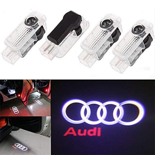 Luce per porta auto Logo Light,4 pezzi di luci per porte auto LED 3D Car Light Entry illuminazione...