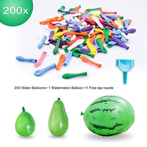 Elegear Wasserballon 200x Wasserbomben mit 1x Groß Wassermelone Bomben und 1x Wasserbomben Schnellfüller, Wasser-Bomben Wasserballons Bunt Gemischt