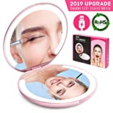 LED Lighted Travel Makeup Mirror Foldable, Dual Sided Vanity Mirror with Lights Portable Compact Illuminated Folding Tabletop Cosmetic Mirror, 1x/5x Magnifying Handheld Magnification Pocket Mirrors