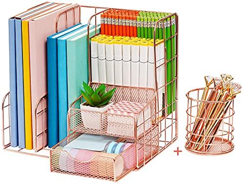 Marbrasse Rose Gold Desk Organizer   Set of 2 Desktop Organizer, Rose...