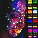 LUMINOUS UV Body Paint - Set of 8 x 20 ml / 0.7 fl oz pots- Black Light Neon Make-Up -...