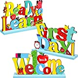 3 Welcome Back to School Table Decoration First Day School Sign, Ready to Learn Table Centerpiece Wooden for Ready to Home Classroom Teacher School Table Topper, 7.87 x 4.72 inch