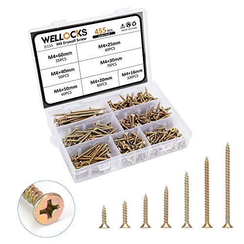 WELLOCKS Drywall Screws 455 Pcs M4×5/8' to 2-1/2' Wood Screw Assortment Kit Self Tapping with Coarse Thread Bugle Head Phillips Drive Yellow Zinc Coating for Home Handmade Repair Installation (D155)