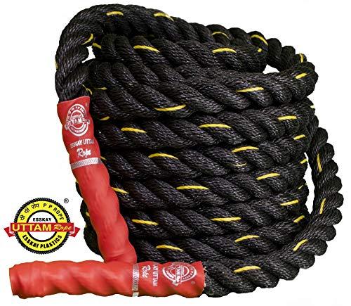 ESSKAY UTTAM Rope Black PRO Exercise Gym Battle Rope 1.25 inch / 35 Feet