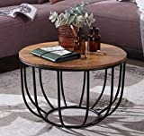 Priti Solid Wood Indiana Rubberwood, Iron Bowed Round Coffee Table, Brown