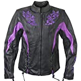 Xelement XS2027 Ladies 'Gemma' Black and Purple Leather Embroidered Jacket with X-Armor Protection - Medium