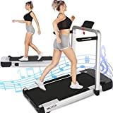 ANCHEER 2-in-1 Folding Treadmill for Home with Remote Control, LCD, App, 265 lbs Weight Capacity, 2.25HP Electric Compact Under Desk Treadmill for Walking & Running