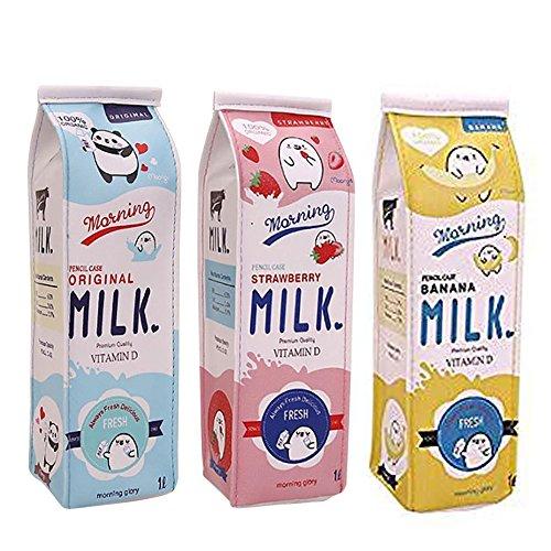 Fablcrew - Astuccio creativo in cartone per latte, con cerniera, per ufficio, scuola, 3 pezzi