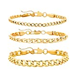3Pcs 14K Gold Plated Chain Link Bracelet Set for Men Women Cuban Paperclip Chain Stainless Steel Stackable Stretchable Elastic Gold Bead Ball Bracelet Set