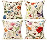 All Smiles Outdoor Patio Throw Pillow Covers Summer Spring Garden Flowers Farmhouse Décor Outside Furniture Bench Chair Decorative Cushion Cases 18x18 Set of 4 for Bed Couch Sofa