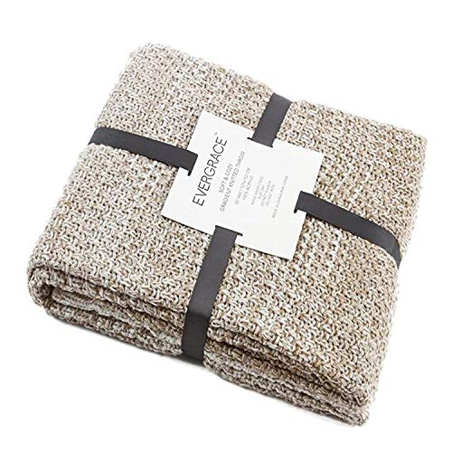 EverGrace Knit Throw Blanket for Sofa or Couch, Soft & Cozy Knitted Blanket Textured Ombré Effect for Home Décor 100% Acrylic Gradient Blanket W50 x L60 (Cream)