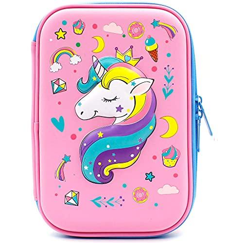 Wenlia Astuccio per matite Astucci rigido con unicorno goffrato, grande scatola per la scuola con scomparti borsa per cancelleria Pencil Pouch con Zipper per bambini e bambine