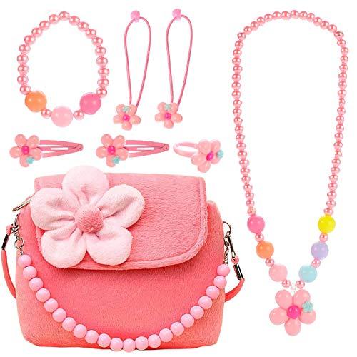 Ouinne Kinderschmuck Mädchen Kinder Handtasche Halskette Armband Ring Haar Klammern Einstellen Set Modeschmuck Party Favors Geschenk