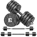 RUNWE Adjustable Dumbbells Barbell Set, Free Weight Set with Steel Connector at Home/Office/Gym...