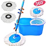 PrimeTrendz Microfiber Spining Magic Spin Mop W/Bucket 2 Heads Rotating 360° Easy Floor Mop Washable Plastic Handle Great Wet Or Dry Machine Washable | Color: Assorted (Blue, Green, Red Or Purple)