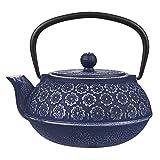 Juvale Teekanne aus Gusseisen mit Herausnehmbarem Teesieb im Japanischen Stil - Tetsubin-Teekessel - Ideal für Zuhause, Büro, als Geschenk - 1 Liter, Blau