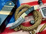Handmade Knivez Beautiful Damascus Steel Hunting Knife 8.5' inches with Cow...