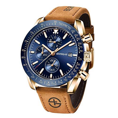 BERSIGAR Herren Uhr Chronograph Analogue Quarzuhr-Mann Geschäfts Chronograph Armbanduhr Männer Armbanduhr mit Leder Armband
