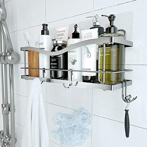 KINCMAX Shower Caddy Basket Shelf with Hooks for Hanging Sponge...