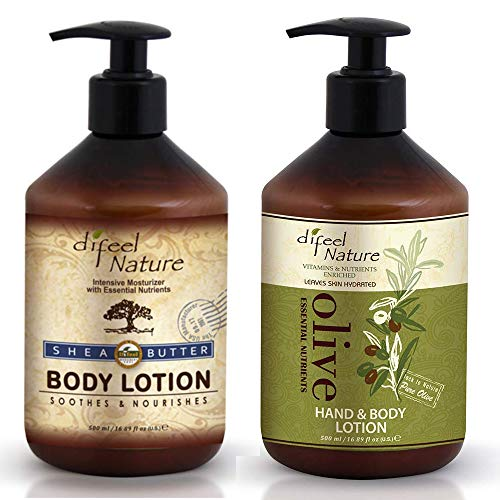 Difeel Shea Butter Moisturizing Body Lotion 16.9 Ounce AND Olive Essential Nutrients Body Lotion 16 Ounce COMBO
