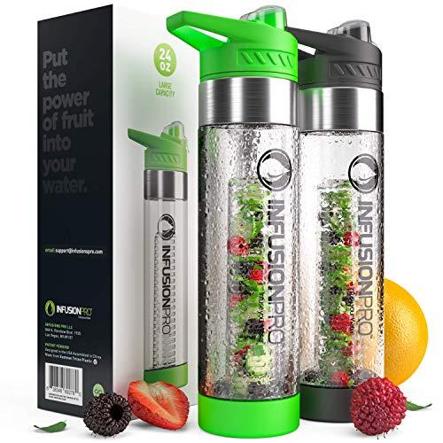 Infusore per frutta in plastica Tritan, 680 g, verde/nero, confezione da 2