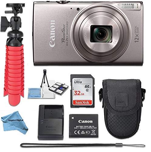 Canon PowerShot ELPH 360 HS(Silver) Digital Camera w/Deluxe Kit 32GB SDHC Memory Card Bundle