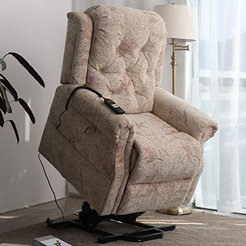 Irene House 9170 Dual OKIN Motor Power Lift Chair Lays Flat Electric Power Lift Recliner Chair for Elderly Up to 300 LBS Soft Fabric Lift Chairs Recliners with Side Pocket(Pattern Beige Chenille)