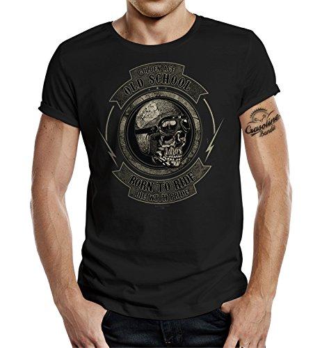 GASOLINE BANDIT® Original Design Biker T-Shirt: Golden Age Old School-L