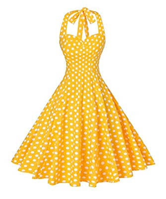 Features: Sweetheart neckline,,polka dots/solid color,sleeveless,not see through fabric,concealed zipper. Ajustable halter straps;Elastic back design - Make it easy to fit busty women.Modest High waist design shows of your slim figure perfectly. Slim...