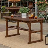 Walker Edison Furniture Company OWTEXDB 6-8 Person Outdoor Patio Wood Extendable Rectangle Dining Table with Leaf All Weather Backyard Conversation Garden Poolside Balcony, 55-79 Inch, Dark Brown