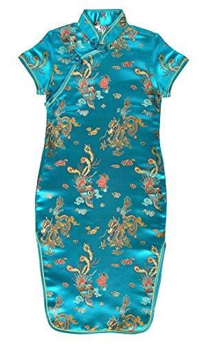 Laciteinterdite Vestido Chino para niña, Qipao tradicionale Turquesa Motivo Dragones 4 años
