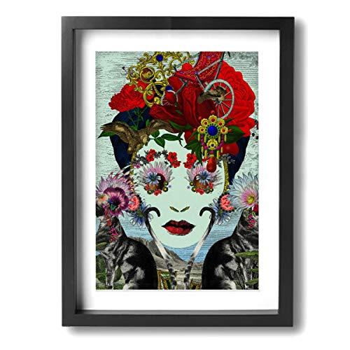 Pintura C Frida Kahlo Mexicana Folk Arte de Pared Póster Obras de Arte Pinturas en Lienzo Enmarcado Listo para Colgar para decoración del hogar 12 x 16 Pulgadas, Madera, Negro, Talla única