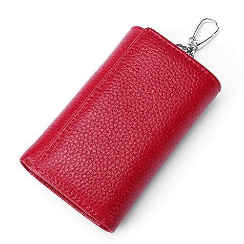 Primo strato in pelle di vacchetta portachiavi moda uomini e donne in vita moneta borsa coppia portachiavi borsa -blu_11*7 * 3cm SHIYUE, Rosso rosato (Rosso) - 477150