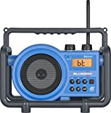 Sangean BB-100 BlueBox AM/FM Ultra-Rugged Digital Receiver with Bluetooth, Blue, 12.4'