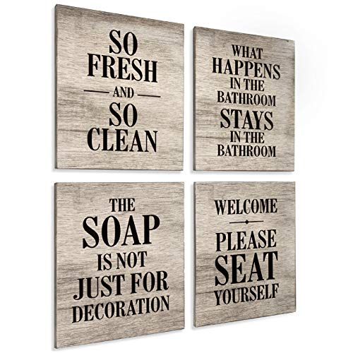 Excello Global Products Wooden Bathroom Humor Signs : Decor for Home, Restaurant, or Business - 8x10 Inches - Ready...
